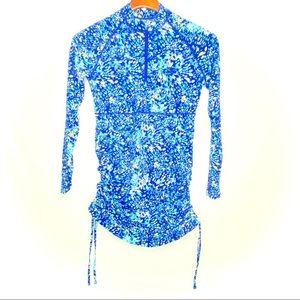 Coolibar Lawai ruched swim shirt/ S